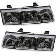 Headlights Headlamps Left And Right Pair Set New For 02-04 Saturn Vue