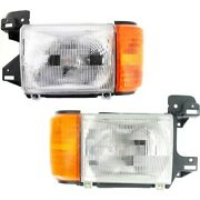 Headlight Set For 87-91 F-150 88-91 F Super Duty Left And Right With Side Marker
