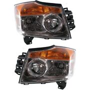 Headlights Headlamps Left And Right Pair Set For 08-10 Nissan Armada