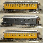 Ho Scale Model Power 3 Old Time Dandrg Passenger Cars W/ Metal Wheels And Interiors