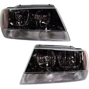 Headlight Lh And Rh Black Int With Clear Signal Lens For 2002-04 Grand Cherokee