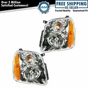 Headlights Headlamps Left And Right Pair Set Of 2 For 07-14 Gmc Yukon Suv