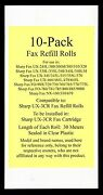 10-pack Of Ux-3cr Fax Refill Rolls For Sharp Ux-300 Ux-300m Ux-305 Ux-310 Ux-320