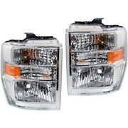 Halogen Headlight Lamp Assembly Lh Rh Pair For Ford Van Pickup Brand New