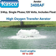 Kasco 3400af200 Aerator 3/4 Hp 120 Volts 200and039 Cord Includes Float