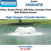 Kasco 3400hafb300 Aerator 3/4 Hp 240 Volts 300and039 Cord With Float And Bottom Screen