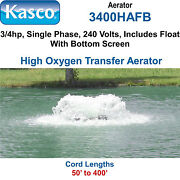Kasco 3400hafb400 Aerator 3/4 Hp 240 Volts 400and039 Cord With Float And Bottom Screen