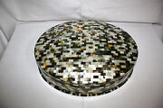 Egyptian Mother Of Pearl Large Oval Paua Inlaid Jewelry Box 16 X 12.8 Unique