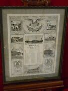 Old 1920 Us Army And Navy Framed Memorial Roster Uss Upshur Asiatic Fleet Cavite