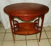 Solid Cherry Carved Oval End Table / Parlor Table Rp T181