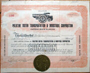 1920 Car/truck Stock Certificate-palatine Motor Transportation And Industrial Corp