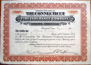 1911 Stock Certificate 'the Connecticut Fire Insurance Co. - Hartford, Ct'
