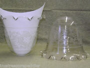Vintage Acid Etched 2 Large Glass Banquet Gas Ruffled Light Fixture Shades