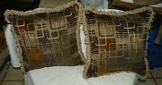 Pair Of Beige Brown Gold Abstract Print Chenille Throw Pillows 20 X 20