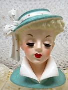 Napco Hand Painted Head Vase Planter 5 7/8 In Light Blue With Matching Hat