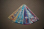 Lot Of 4 Different Mlb Baseball Full-size Pennants Cubs, Marlins, 2 Yankees