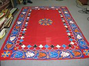 Peruvian Moroccan Applique Quilted Embroidery 68 X 100 Coverlet Textile