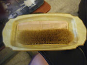 Vintage Art Deco Plastic Celluloid Vanity Tray And Hair Or Clothing Brush And Comb