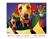 Dog Art Print - Molly Moe And Jack By Ron Burns And 24x18 Cute Dogs Poster