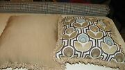 Pair Of Beige Tan Gold Abstract Print Chenille Throw Pillows 20 X 20