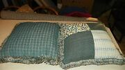 Pair Of Blue Green Patchwork Print Chenille Throw Pillows 20 X 20
