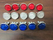 15pc Red White And Blue Round License Plate Bolt Reflector Bike Fasteners New