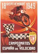 1949 Spanish Grand Prix Valencia Motorcycle Race 9 X 12 Repro Event Poster