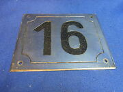 Mid Century Chrome With Black Numbers House Sign No. 16 L