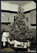 1920 Christmas Tree W/ Victorian Girl And Toys Beautiful Image