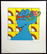 Peter Max Lady On Pattern Signed Pop Art Unframed Lithograph 1976 Make Offer