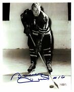 Bobby Hull, Early Reprint Auto On-ice Pose-16 Road Uniform-rookie Photo