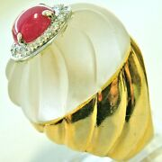 Huge Antique Retro 18k Dimonds And Ruby Rock Crystal Ring