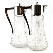Pair Of Silver Mounted Cut Crystal Claret Jugs Decanter Budapest Hungary Ca 1880