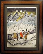 C J Wells Cold Snow Moon Signed Lithograph Art Custom Frame Native Amer Themed