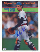 Carlton Fisk Signed Sports Illustrated Print Boston Red Sox Psa/dna Autographed