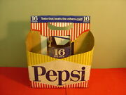 Original 1950and039s Pepsi Cola Cardboard Bottle Carrier For Six 16 Ounce Bottles