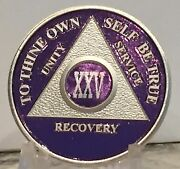 Purple And Silver Plated 25 Year Aa Chip Alcoholics Anonymous Medallion Coin Token