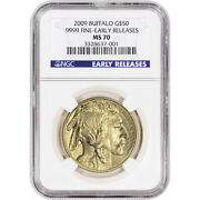 2009 American Gold Buffalo 1 Oz 50 - Ngc Ms70 - Early Releases