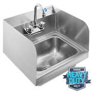 Commercial Kitchen Stainless Steel Wall Mount Hand Sink With Side Splashes