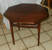 Mid Century Walnut Octagon Coffee Table / End Table By Mersman Jlc-ct80
