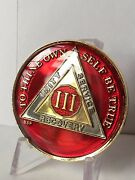 3 Year Red Aa Alcoholics Anonymous Medallion Chip Tri-plate Gold Nickel Plated
