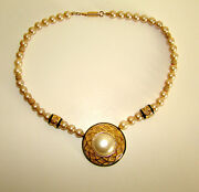 Vintage 1980's Balenciaga Faux Pearl Choker Necklace With Mabe Center Pendant