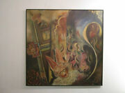 George Hurt Original Painting 1970and039s Abstract Surrealism Mexico American Vintage