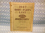1942 Ford And Mercury Original Body Parts List Catalog Cars Commercial And Trucks