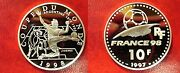1997 France Large Silver Proof 10 Fr Soccerfootball/argentina/bull