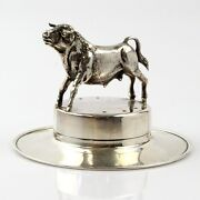 Novelty Silver Fighting Bull On A Spanish Hat Toothpick Holder Spain 1940s