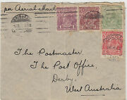 Stamps Australia Various Kgv On Cover Sent Airmail Brisbane To Derby Wa Rare