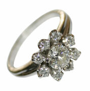 Platinum Vintage 0.79ct Diamond Womenand039s Cluster Style Ring Size 7