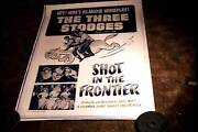Three 3 Stooges Shot In Frontier Orig Movie Poster And03954 Moe Shemp Larry Linen