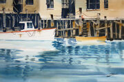 Ray Loos Untitled Signed Original Watercolor Painting Of Boats And Docks Obo